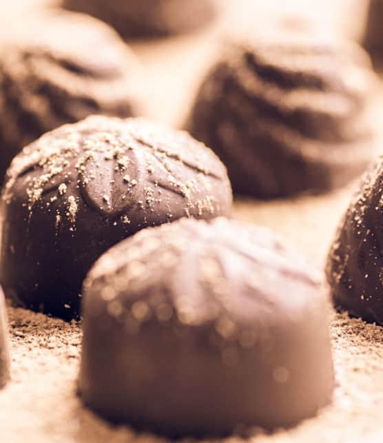 bonbons à la mousse au chocolat noir