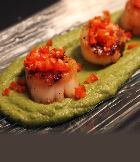jetons de pétoncles poêlés sur tapis de purée de pois vert et dés de poivron rouge