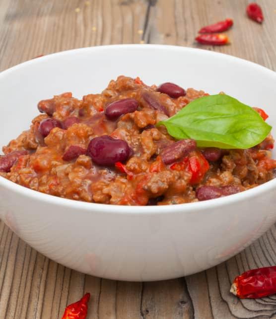 chili con carne et sa sauce aux trois piments