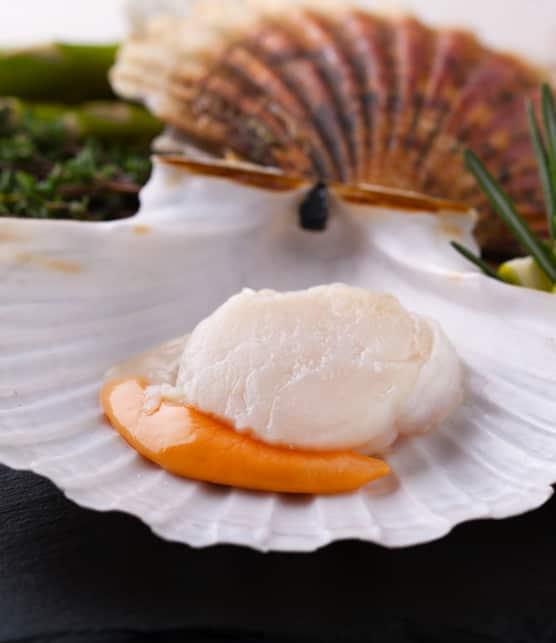 noix de Saint-Jacques saisies dans une sauce marbré au corail