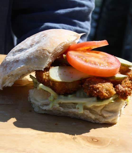 sandwich d'huîtres panées Po Boy