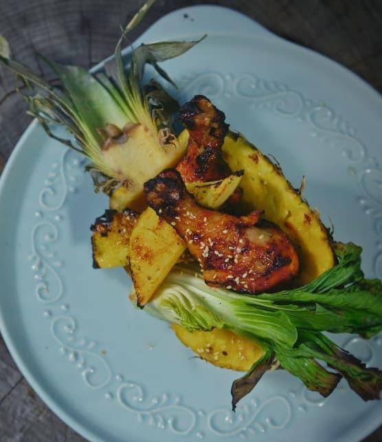 Poulet aux ananas, sauce aux cerises