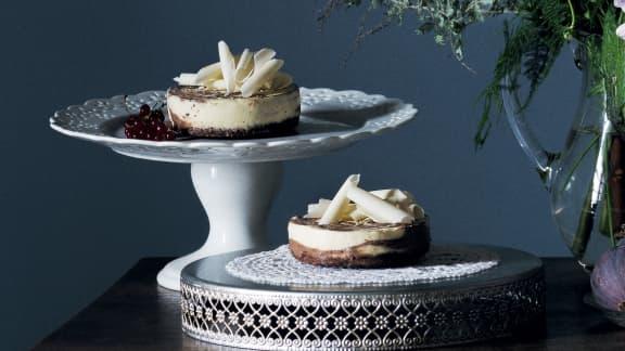 Gâteaux au fromage individuels, marbrés au chocolat
