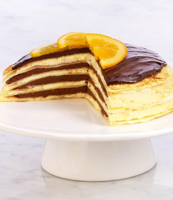 Gâteau de crêpes au chocolat et à l'orange