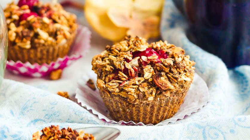 Muffins de quinoa aux pommes, canneberges et érable (sans gluten)