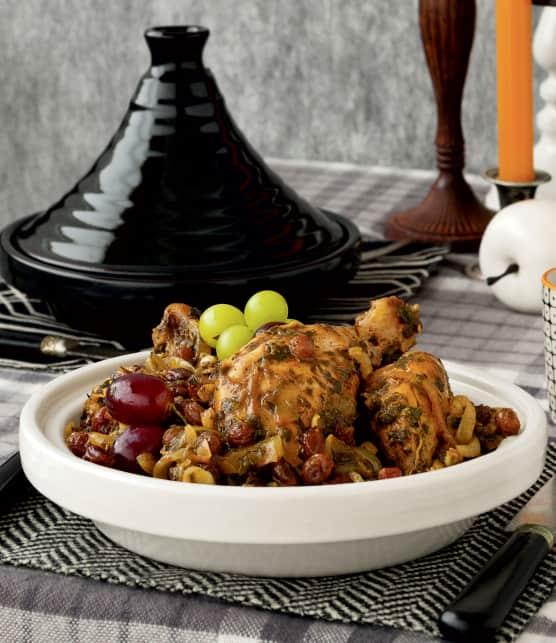 Tajine de poulet aux raisins et à la cannelle