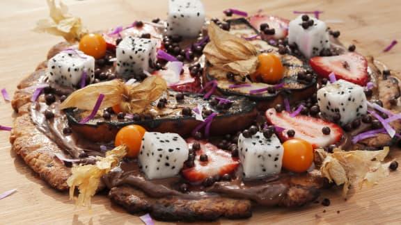 Tarte poire et chocolat sur le BBQ