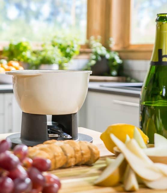 Fondue au champagne et aux fromages légers