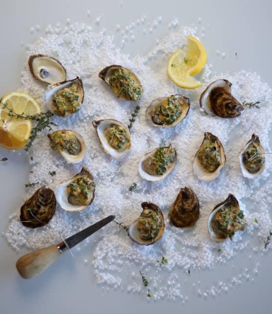 Huîtres fraîches de l'Atlantique pochées façon Rockefeller