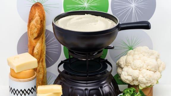 Fondue au fromage et chou-fleur