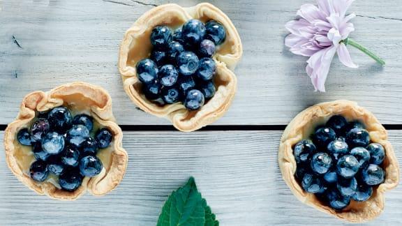 petites tartes bleuets et sucre à la crème