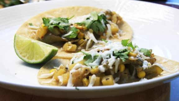 recette de tacos au maïs et aux poivrons verts