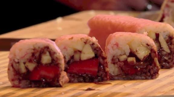 maki dessert au spéculoos et aux fruits