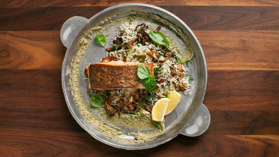 pavés de saumon grillés et tapenade crémeuse