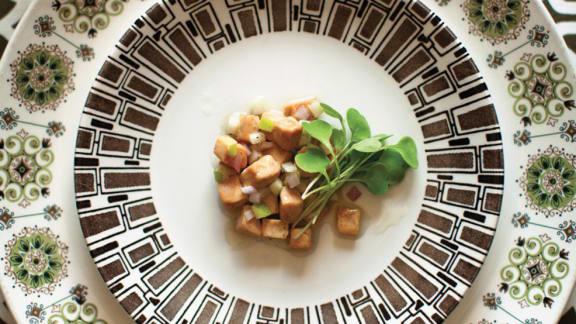 Tartare de foie gras à la pomme Granny Smith