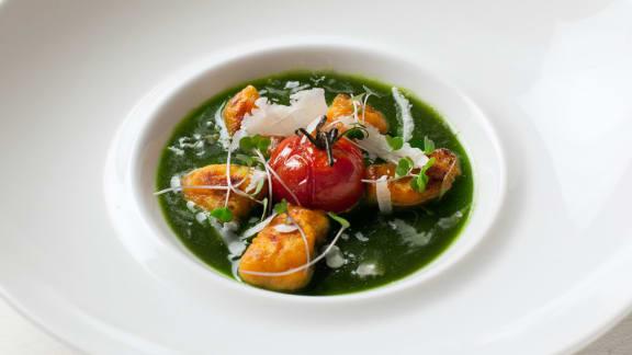 gnocchis aux patates douces et ricotta, sauce chlorophylle