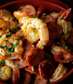crevettes sautées et chorizo piquant