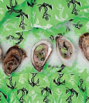 huîtres à la mignonette de wasabi