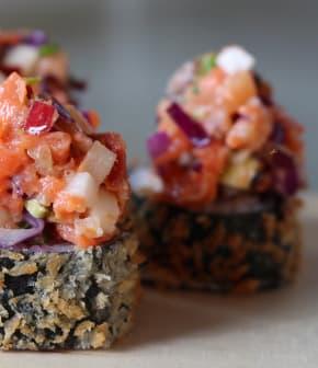 hosomaki tartare de truite, saumon fumé et cidre