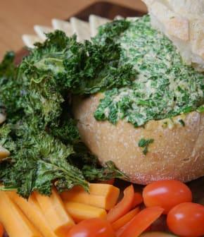 trempette aux épinards et croustilles de chou frisé (kale)