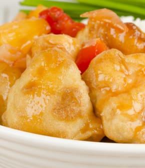 poulet pané aux poivrons marinés