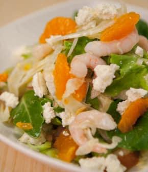 vinaigrette aux clémentines sur salade de crevettes