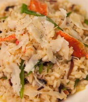 risotto de crabe, radicchio et pois mange-tout