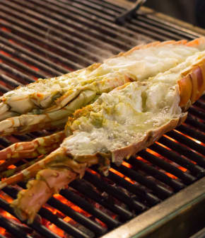 demi-homards grillés à la ciboulette