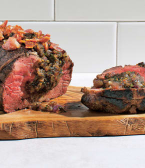 filet de bœuf fruits secs et bacon