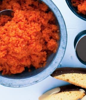 granité mangues, framboises, biscotti et sirop de cassis