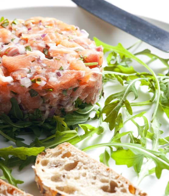 tartare de saumon, érable et gingembre