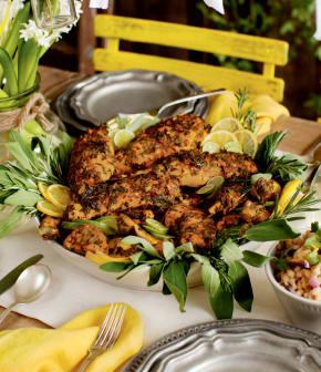 poulet chermoula avec potiron et salade de haricots blancs