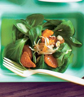 salade de mâche et vinaigrette aux clémentines