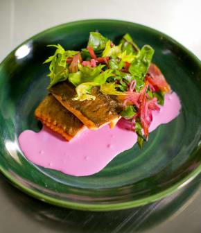 omble chevalier poêlé, crème fraîche à la betterave et salade de marinades