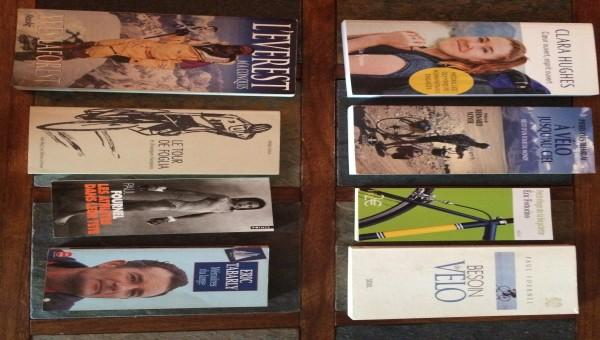 Lot de livres aventures, vélo, escalade, voile, sports… Voir les photos pour les titres
