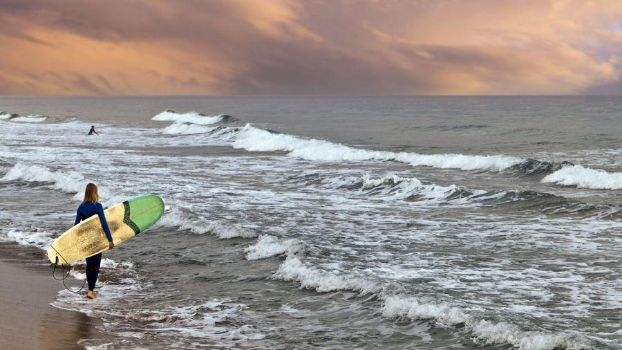 Surf automnal à Hampton