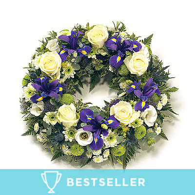 Purple & White Wreath - Flowers