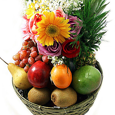 Classic Fruit Basket - Flowers
