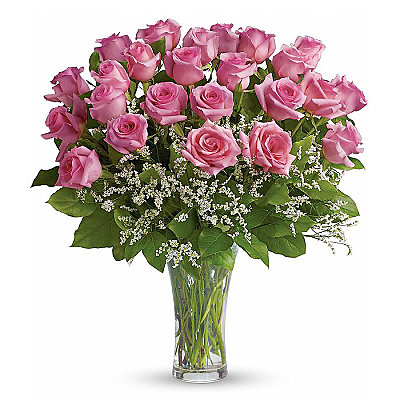 Two Dozen Long Stemmed Pink Roses - Flowers