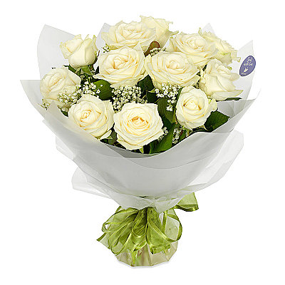 Dozen White Roses - Flowers
