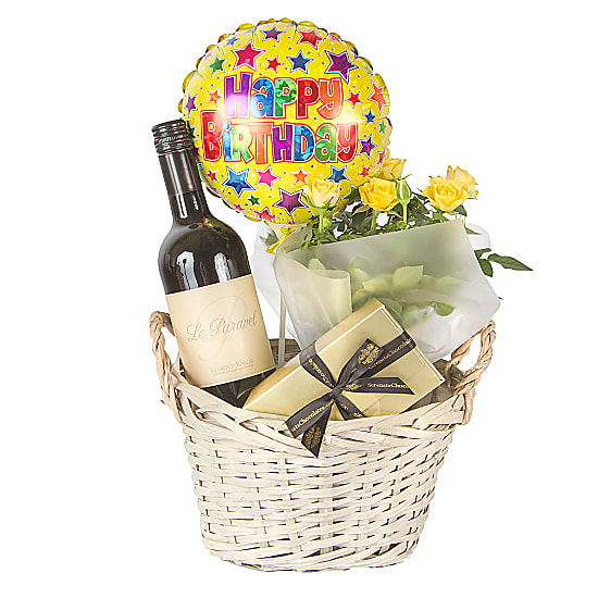 Red Wine Gift Basket Happy Birthday
