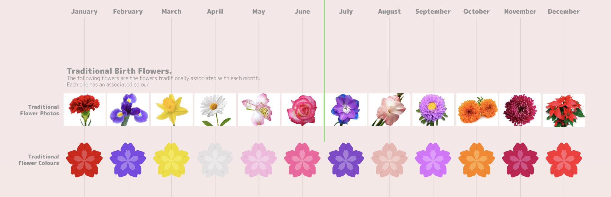 Birth month Flower colours