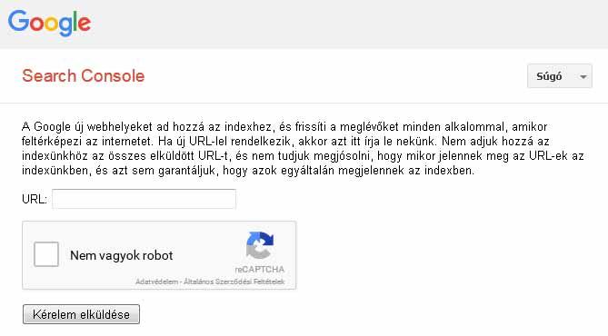 Saját webhely beküldése Google - Carbon Free Server