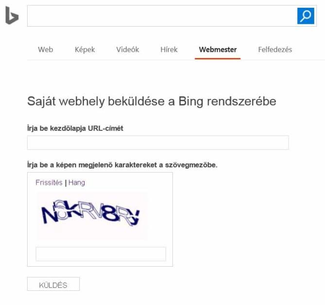 Saját webhely beküldése Bing - Carbon Free Server