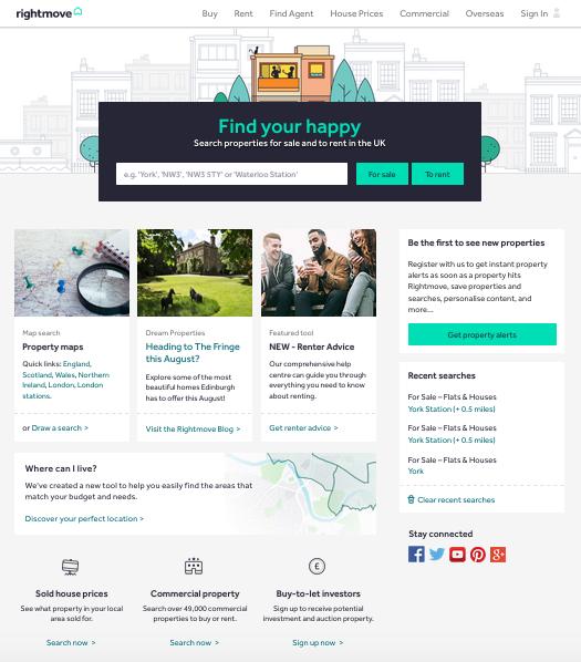 screenshot of rightmove website homepage