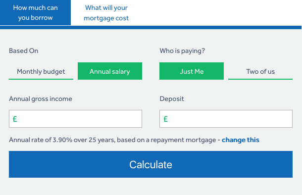 screenshot of mortgage calculator used for working out how much you can borrow