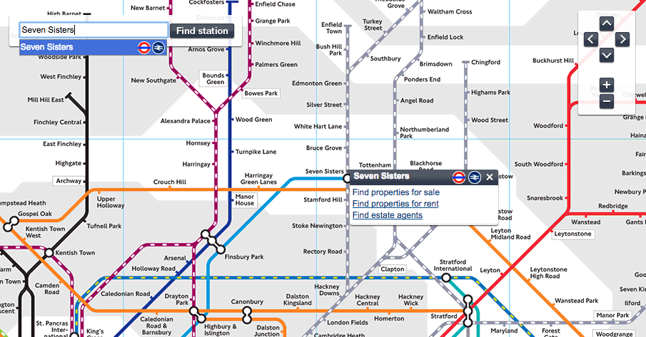 screenshot of tube and rail map showing seven sisters