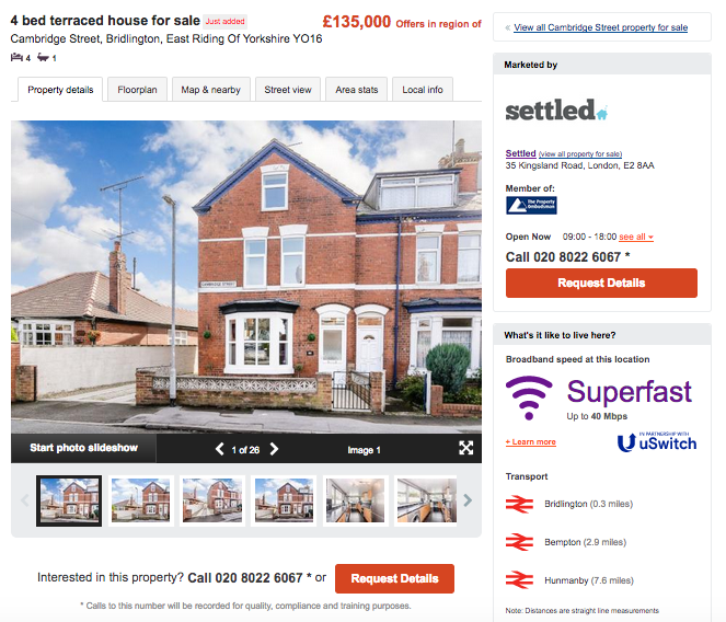 screenshot of a house listing on Zoopla's website