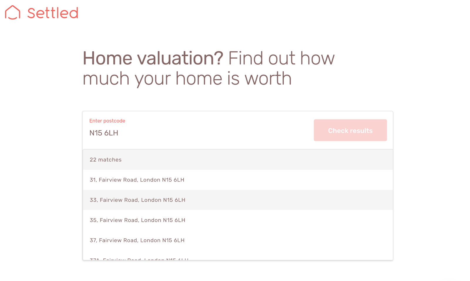 screenshot of Settled instant online valuation tool