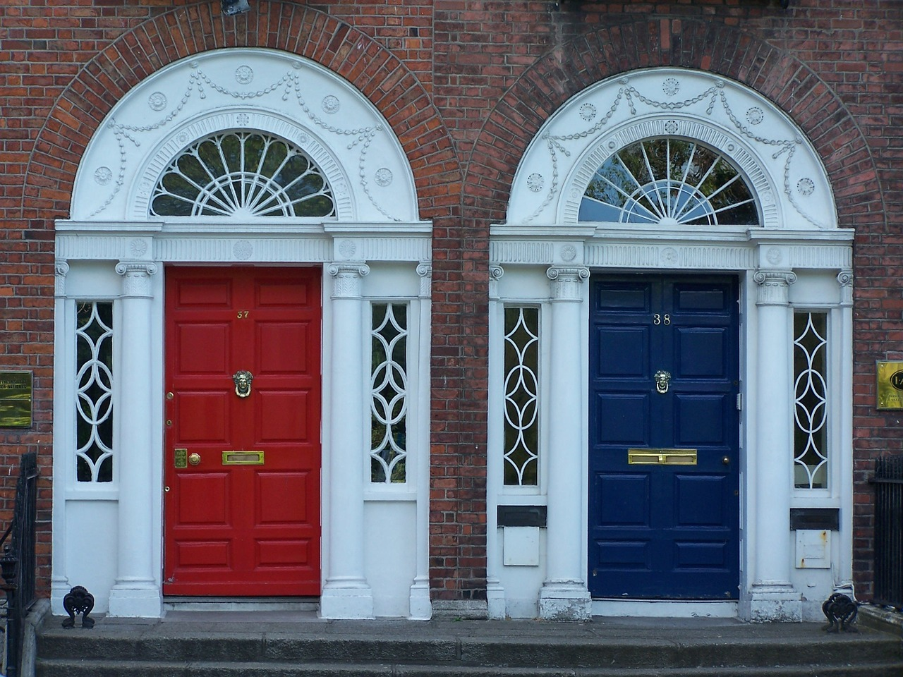 photograph of brightly coloured front doors on a street